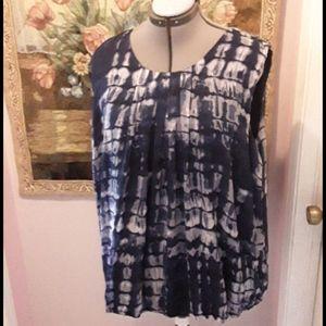 q lined blue geometric plus size blouse 22